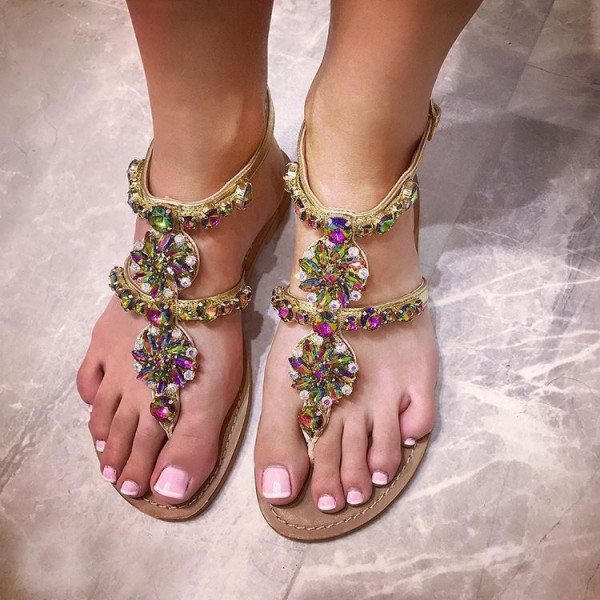 Kryštálové sandálky Milano Rainbow-134242-31